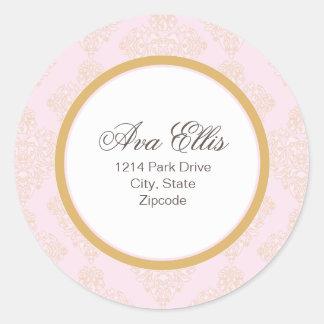 Personalized Pink Address Label/Merchandise Seal Round Sticker
