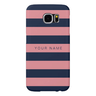 Personalized Pink & Navy Blue Striped Samsung Galaxy S6 Cases