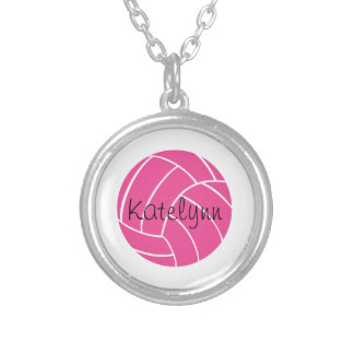 Personalized Pink Volleyball Necklace