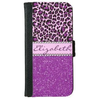 Personalized Purple Leopard Print Glitter iPhone 6 Wallet Case