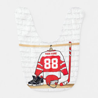 Personalized Red and White Ice Hockey Jersey Baby Bibs
