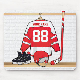 Personalized Red and White Ice Hockey Jersey Mouse Pad