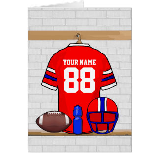 Personalized Red White Blue Football Jersey Greeting Card