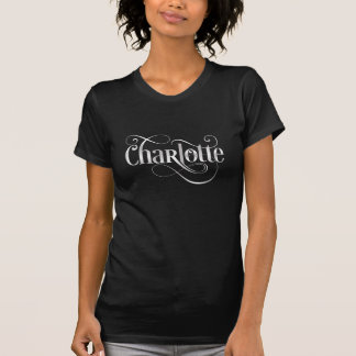 Personalized Swirly Script Charlotte Silver Black T-shirts