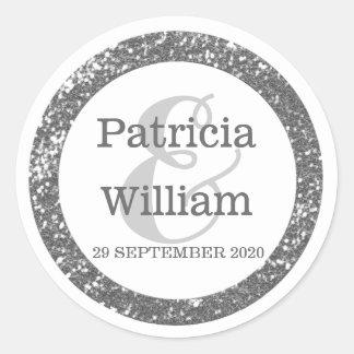 Personalized Wedding Seals | Silver Gray Glitter Round Sticker