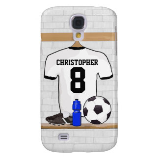 Personalized White Black Football Soccer Jersey Galaxy S4 Case