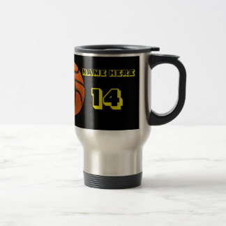 Personalized Yellow Text basketball Tumbler Stainless Steel Travel Mug