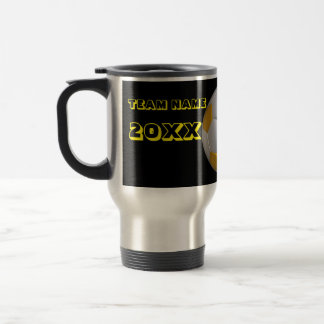 Personalized Yellow Text Soccer Tumbler Stainless Steel Travel Mug