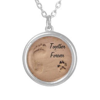 Pet & Footprint in the Sand Round Pendant Necklace