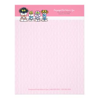 Pet Groomer Spa Dogs Cat Robes Pink Letterhead 21.5 Cm X 28 Cm Flyer