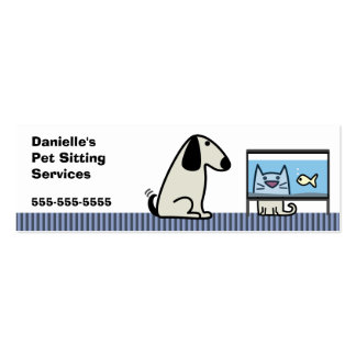 Pet Sitter Dog & Cat Pack Of Skinny Business Cards