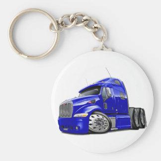 Peterbilt Blue Truck Basic Round Button Key Ring