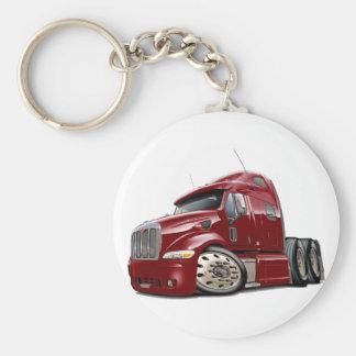 Peterbilt Maroon Truck Basic Round Button Key Ring