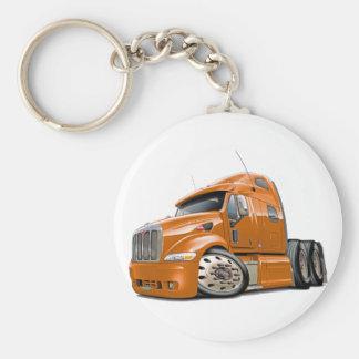 Peterbilt Orange Truck Basic Round Button Key Ring