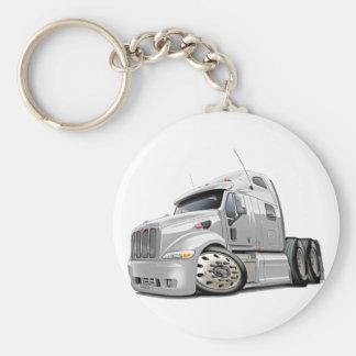 Peterbilt White Truck Basic Round Button Key Ring