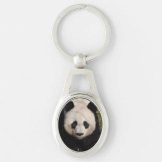 Petulant Panda Bear Silver-Colored Oval Key Ring