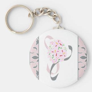 Pewter Gray , Blush Pink, Damask Favor Basic Round Button Key Ring