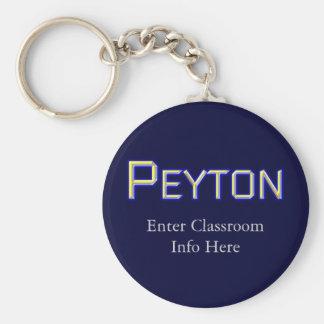 Peyton Boy's Name Tag ID Keychain