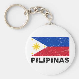Philippines Flag Vintage Basic Round Button Key Ring
