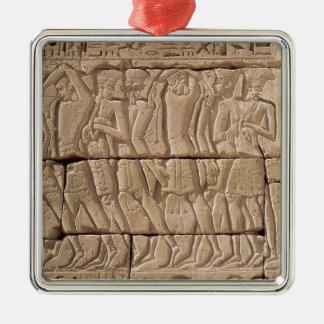Philistine prisoners being led away Silver-Colored square decoration
