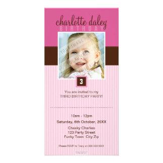 PHOTO BIRTHDAY INVITATIONS :: lovely square 5 Photo Cards