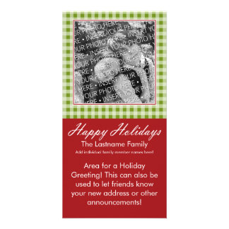 Photo Card: Happy Holidays Red Green Gingham Personalized Photo Card