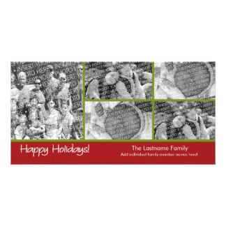 Photo Card: Happy Holidays with 5 photo collage Customized Photo Card