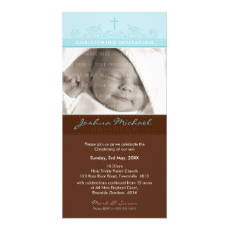 PHOTO CHRISTENING INVITATIONS :: elegant 1 Photo Card