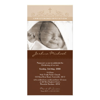 PHOTO CHRISTENING INVITATIONS :: elegant 3 Personalised Photo Card
