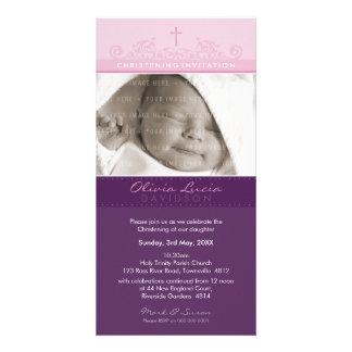 PHOTO CHRISTENING INVITATIONS :: elegant 4 Custom Photo Card