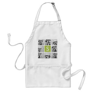 Photo Collage Custom Monogram - Lime Green Standard Apron