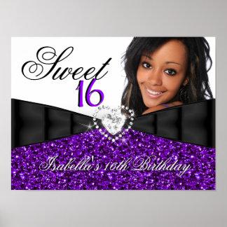 Photo Purple Glitter Sweet 16 16th Birthday Banner Poster