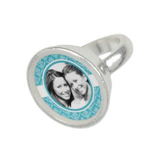 Photo ring turquoise blue damask frame custom
