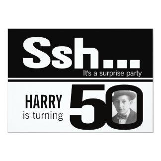 Photo ssh men black white 50th birthday invite