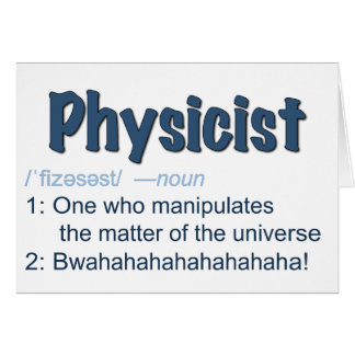 physicist definition card - blue & white