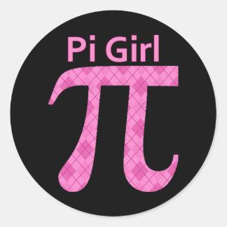 Pi GIrl Hot Pink Argyle Round Sticker