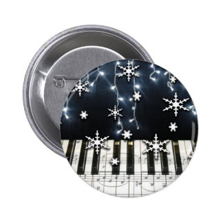 Piano Christmas Snowflake Keyboard 6 Cm Round Badge