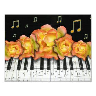 Piano Keyboard and Music Notes Invitation