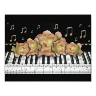 Piano Keyboard Invintation Roses and Music Notes 11 Cm X 14 Cm Invitation Card