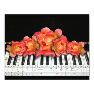 Piano Keyboard Roses and Music Notes 11 Cm X 14 Cm Invitation Card