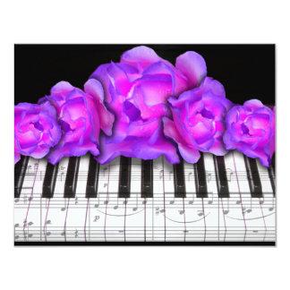 Piano Keyboard RosesInvitation  and Music Notes 11 Cm X 14 Cm Invitation Card