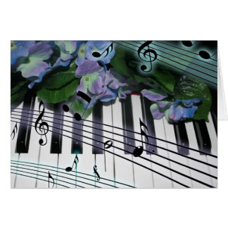 Piano Keys and Flowers Greeting Card