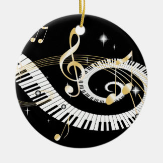 Piano Keys and Golden Music Notes Round Ceramic Decoration