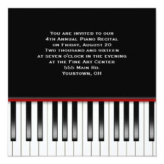 Piano Recital Keyboard 13 Cm X 13 Cm Square Invitation Card