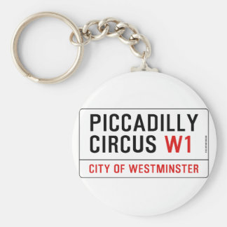 Piccadilly Circus Street Sign Basic Round Button Key Ring