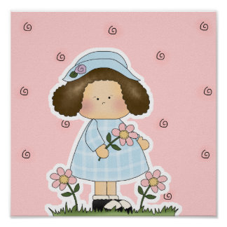 Picking Daisies Cute Flower Spring Girl Poster