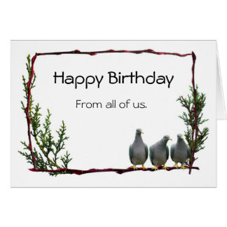 Pigeons on Twig Birthday Card