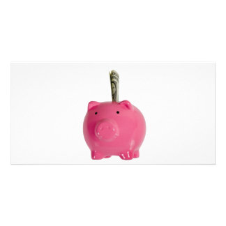 Piggy bank with money customised photo card