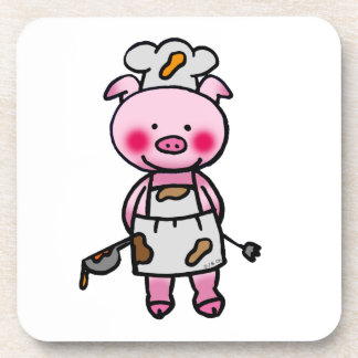 piggy chef drink coasters