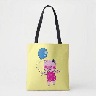 piggy girl with a blue balloon tote bag